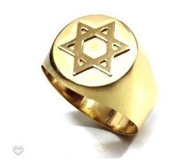 Anel Ouro 18k Estrela Davi Salomão Hexagrama 6 Ponta Judaico