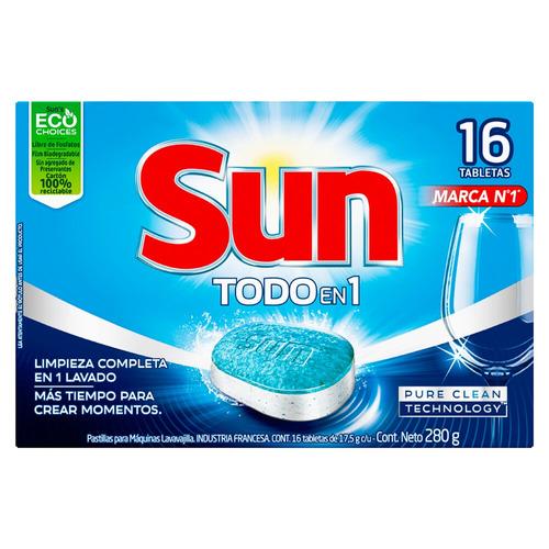 Detergente para lavavajillas Sun 3 en 1 tabletas en caja 16u