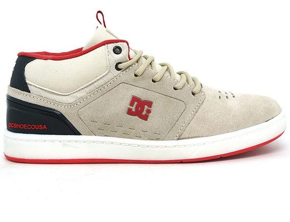 Tenis Masculino Dc Shoes Couro Creme E Vermelho