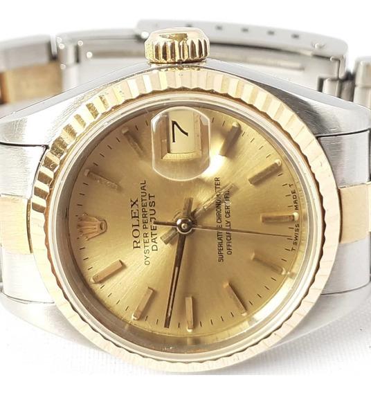 Rolex Date-just Aco E Ouro 18klte Feminino 27mm