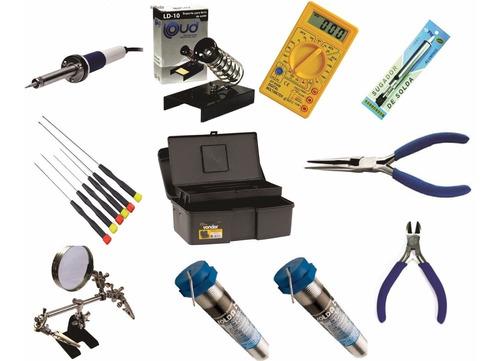 Imagem 1 de 5 de Kit Ferramentas Para Eletronica 16 Pçs Com Lupa E Maleta