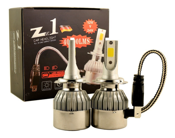 Kit Cree Led H7 Z1 H1 H11 40000 Lumenes 36w 12v 24v Chip Cob Par X2 Disipador Cooler Auto Camioneta Camion Colectivo Nh