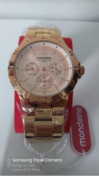 Relógio Feminino Mondaine Dourado Com Rose
