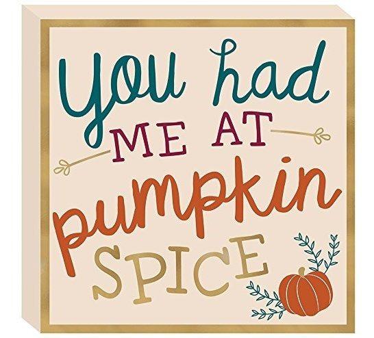 Plq Sq Stnd Mdf Pumpkin Spice