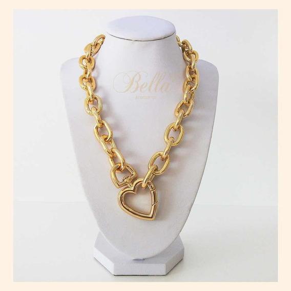 Colar Metal Dourado Coração