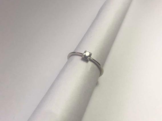 Solitário Vivara De Ouro Branco C/ Diamante