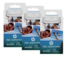 Kit 3 Pacotes Papel Foto Hp Zink Autocolante 20fls