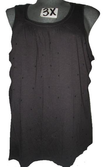 Blusa Negra Casual Puntos Bordados Talla 3x 44 Basic Edition