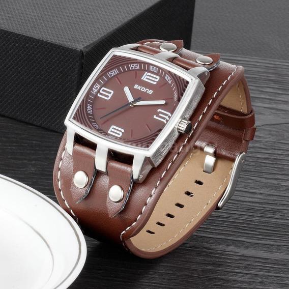 Relógio Skone Grand Em Couro Original Frete Grátis