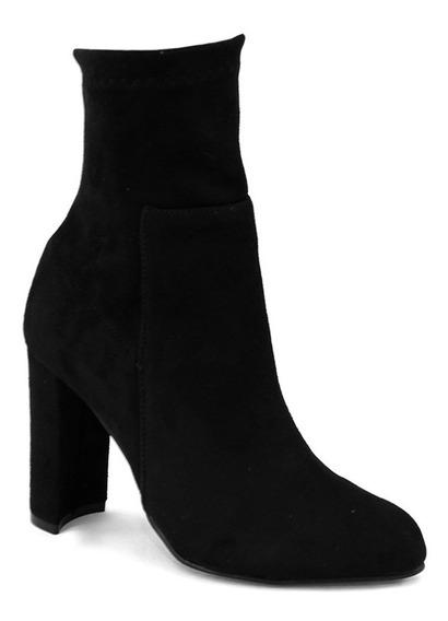 Zapatos Botin Dama Tacon Ancho Mujer Gamuza Negro 7126