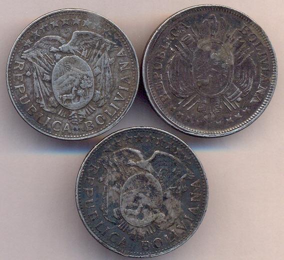 Bolivia Plata 900 Lote X 3 Con Gancho Rastra 1/2 Boliviano