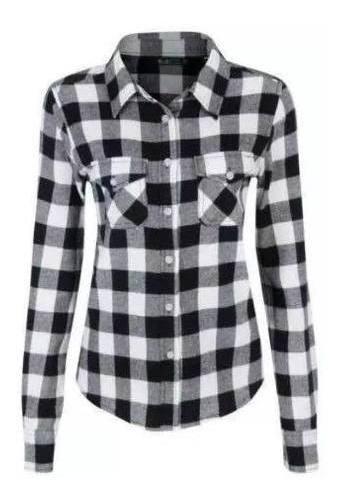 Blusa Xadrez Camisa Camisete Feminino Manga Longa Fashion