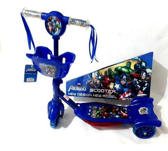 Patinete Infantil Musical Vingadores Cesta Luzes 3 Rodas