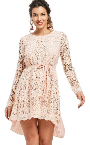 Vestido Corto De Encaje Y Chifon Para Dama, Rosa Palido