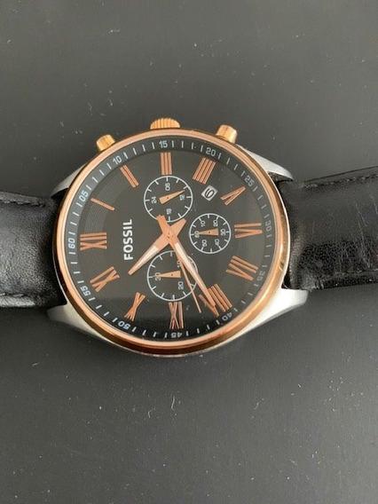 Relógio Pulso Fossil Bq1148 Cronógrafo Pulseira Couro