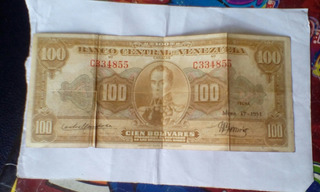 Billete Antiguo De 100 Bolivares