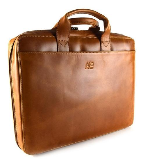 Portafolio Organizador Con Cierre Ag Leather 100% Piel Miel