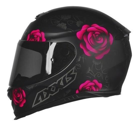 Capacete Mt/axxis Eagle Flowers Preto/rosa