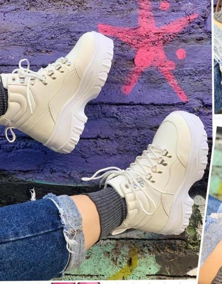 Zapatillas Chunky Media Caña Blancas Completas