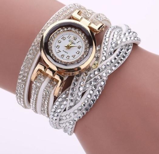 Relógio Pulseira De Couro, Pingente Vintage Feminino Strass