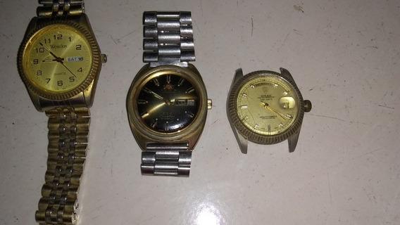 3 Reloj Westclox Orient Y Rolex No Trabajan Sólo Para Partes