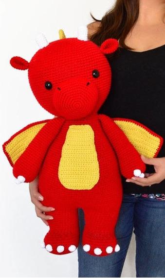 Dragon Gigante De Peluche Tejido Crochet 55cm - Envío Gratis