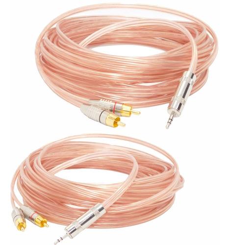 Imagen 1 de 4 de 2 Cables O.f.c. Mini Plug  Estéreo A Dos Rca Macho 20mts C/u
