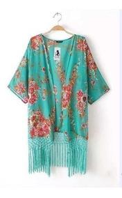 Kimono Cardigan Feminino Com Franjas Promoção Saída De Praia