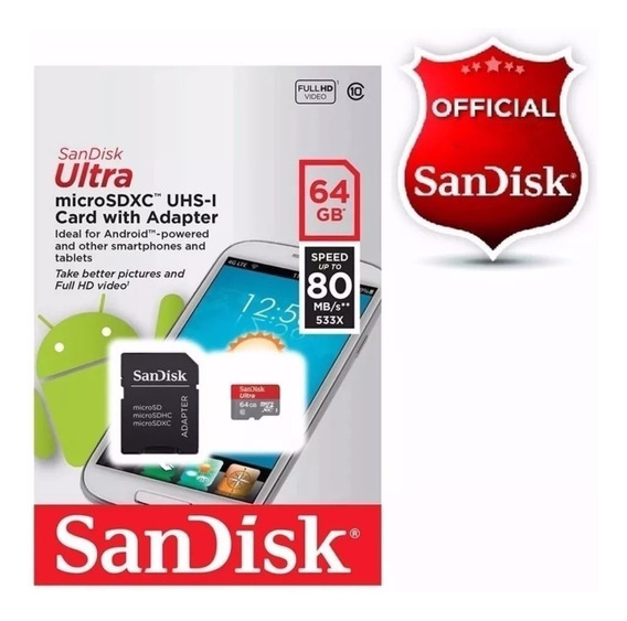 Cartão De Memória Micro Sd Ultra Sandisk 64gb80mb/s Classe10
