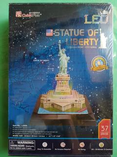 Estatua De La Libertad Con Luz Led Rompecabezas 3d