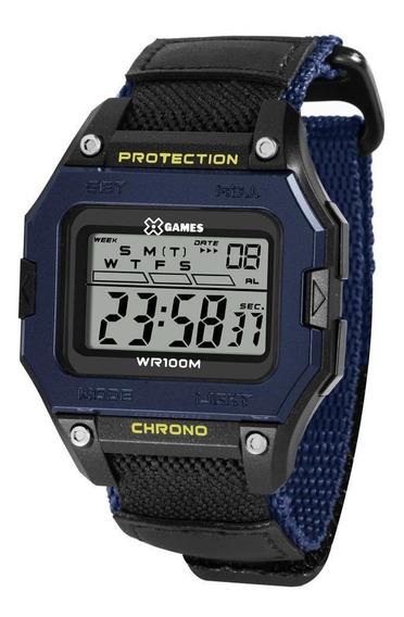 Relógio Masculino Digital Quadrado Preto Azul Nylon X-games