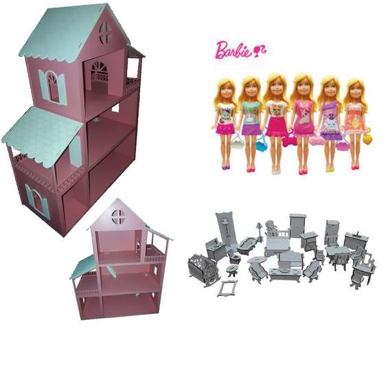 Casinha Montada Rosa/branca+27 Moveis Brc+1mini Barbie Sort.