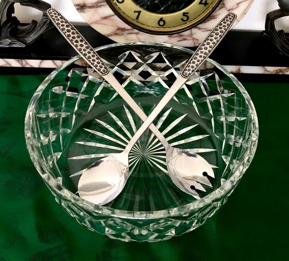 Ensaladera Antigua Cristal Tallado Punta Diamante C Pinzas