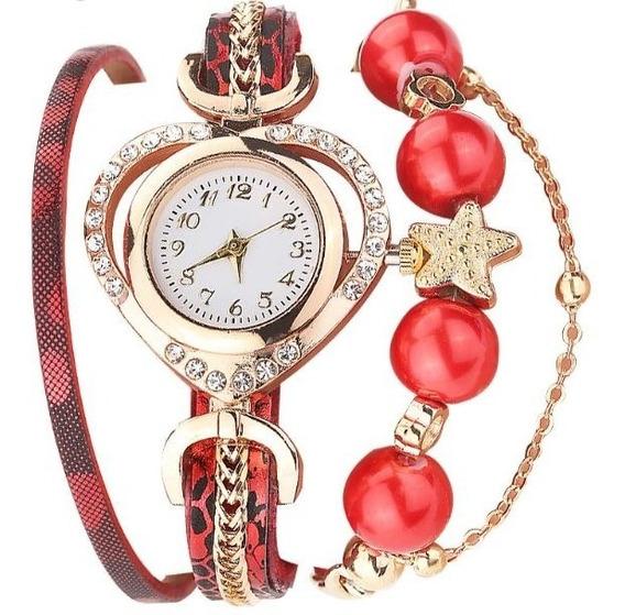 Relógio Feminino Vintage Bracelete Pulseira Pérolas Pingente