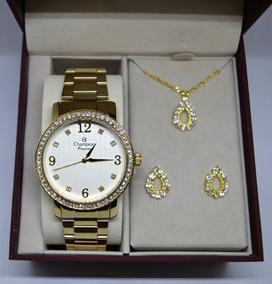 Relógio Champion Feminino Dourado Cn29427w + Kit Semi Joia
