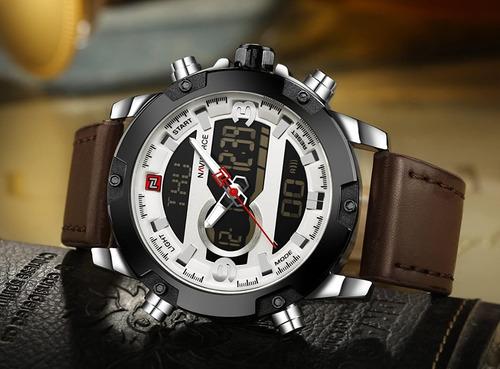 Reloj Deportivo Naviforce Hombre Cuero Acero 1año Garantia