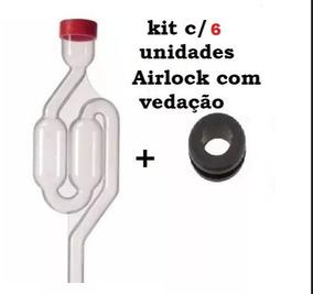 Kit 6 Unid - Válvula Airlock - Modelo S + Vedação + C Tampa