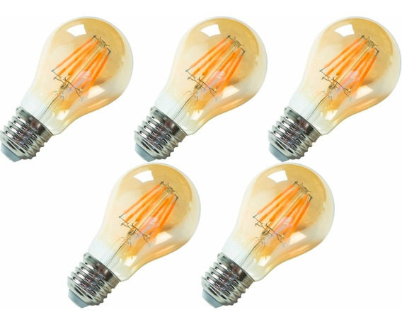 5x Lâmpada Led A60 6w Filamento Carbono Vintage Retrô Edison