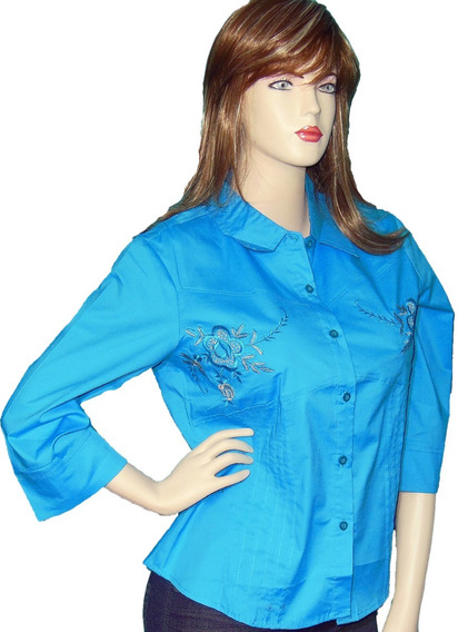 Blusas Camisas Manga 3/4 Para Mujer Blusas Unicolor Botones