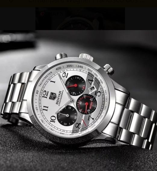 Promoção Relógio Masculino Benyar Sport Cromado Frete Grátis