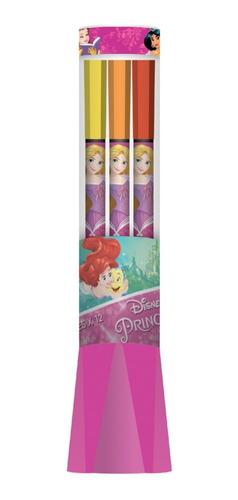 Set 12 Marcadores Punta Fina 15 Cm Princesas De Disney