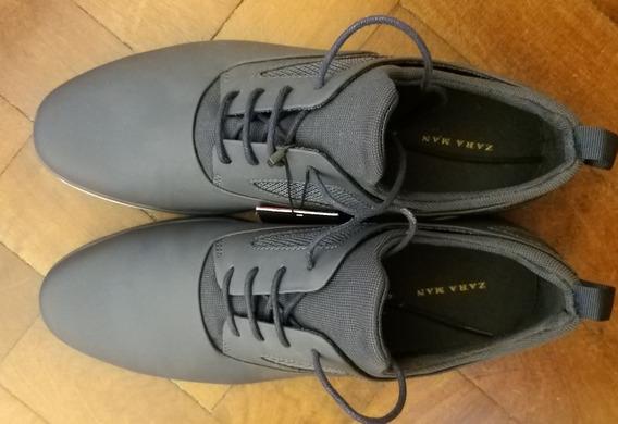 Gris Finos Zara Cuero Gqrxwia Talle Plata Zapatos Nuevos De