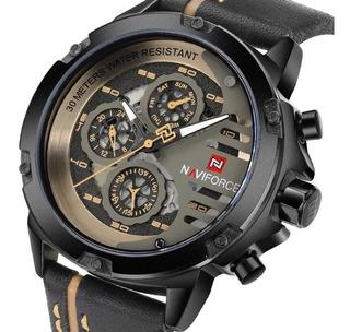 Naviforce 9110 Reloj Hombre Cuero Analogo Cuarzo Deportivo
