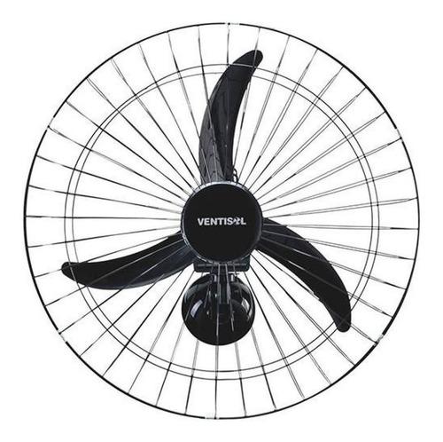 Ventilador de parede Ventisol New Comercial preto com 3 pás de plástico, 60cm de diâmetro 220V