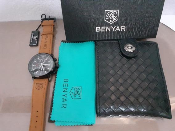 Relógio Benyar De Couro + Carteira De Brinde