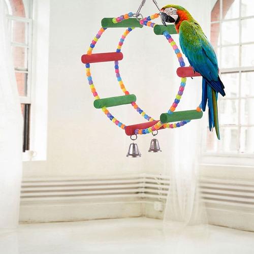 Swing Colorido Juguete Aves Loro Cuerda Arnés Jaula Perico C