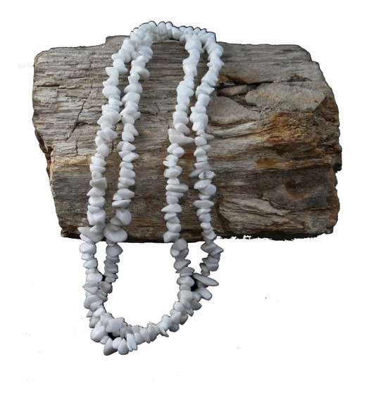 Colar Guia Cascalho Pedra Natural Jade Branca Caboclo