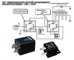 Kit C/ 2 Rele Temporizador Pre Aquecimento Motor Diesel 12v
