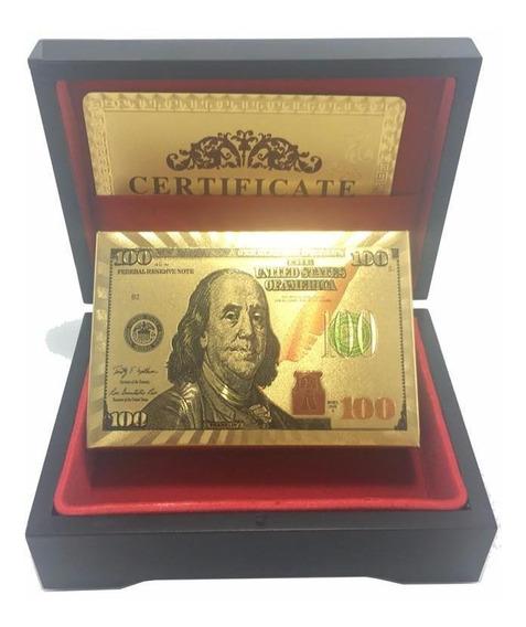 Baralho Dourado 24k Backside Dolar Com Caixa De Madeira Luxo