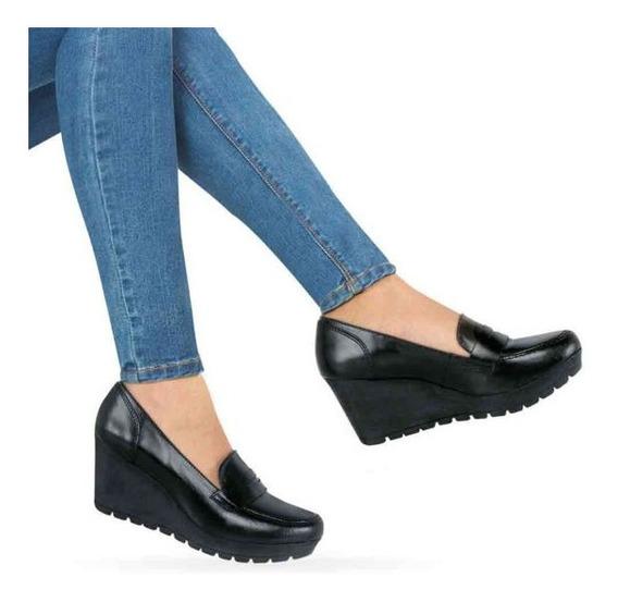 Zapatos Dama Plataforma Comodos Negros En Piel